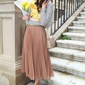 ZARA PINK LONG PLEATED MIDI SKIRT SMALL